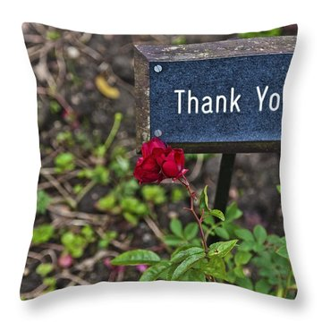Thank You Throw Pillow by Maj Seda