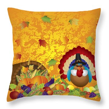 Thanksgiving Day Feast Cornucopia Turkey Pilgrim With Background Throw Pillow
