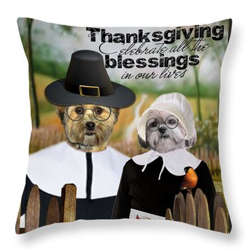 Throw Pillow featuring the digital art Thanksgiving From The Dogs by Kathy Tarochione