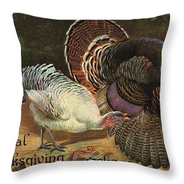 Thanksgiving Greetings Throw Pillow by American School