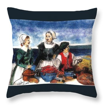 Thanksgiving Supper Throw Pillow by Francine Heykoop