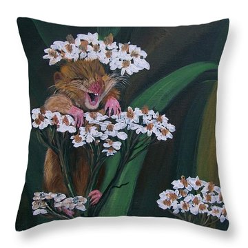 Throw Pillow featuring the painting That Tickles by Sharon Duguay
