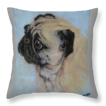 Pug's Worried Look Throw Pillow