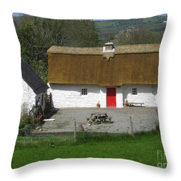 Thatched Cottage Throw Pillow by Suzanne Oesterling