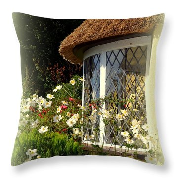 Thatched Cottage Window Throw Pillow by Carla Parris