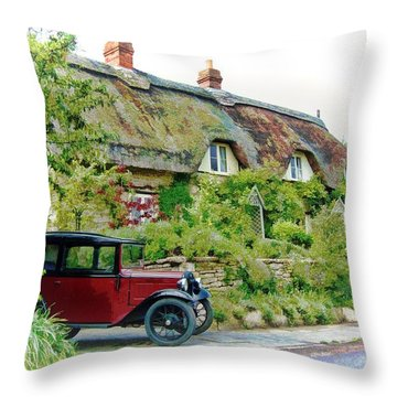 Thatched Cottages At Reybridge Throw Pillow