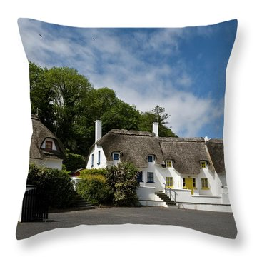 Thatched Cottages Near Dunmore Throw Pillow