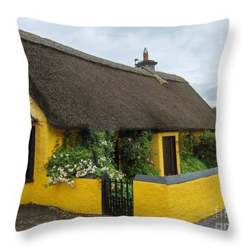 Thatched House Ireland Throw Pillow by Brenda Brown