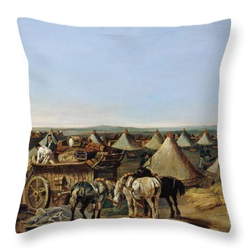 The 10th Regiment Of Dragoons Arriving Throw Pillow by A.E. Eglington