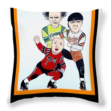 The 3 Stooges Playing Roller Derby Throw Pillow