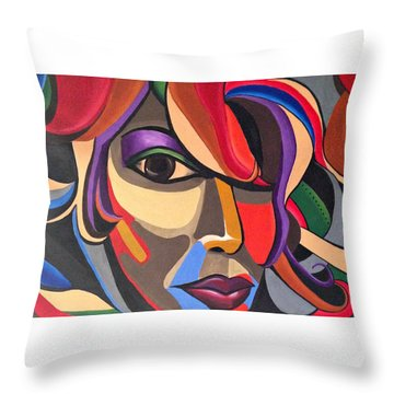 Colorful Abstract Woman Face Art, Acrylic Painting, 3d Illusion Throw Pillow