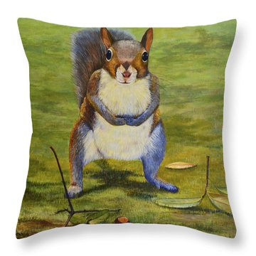 Throw Pillow featuring the painting The Acorn by AnnaJo Vahle