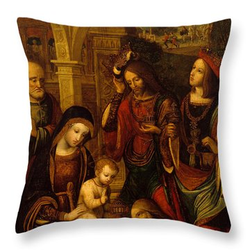 The Adoration Of The Kings Throw Pillow by Neapolitan School