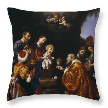 The Adoration Of The Magi Throw Pillow by Carlo Dolci
