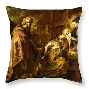 The Adoration Of The Magi Throw Pillow by Orazio de Ferrari