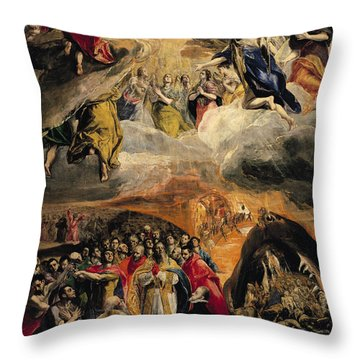 The Adoration Of The Name Of Jesus Throw Pillow by El Greco Domenico Theotocopuli