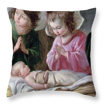 The Adoration Of The Shepherds, Angels And Child, C.1640 Oil On Canvas Detail Of 99414 Throw Pillow