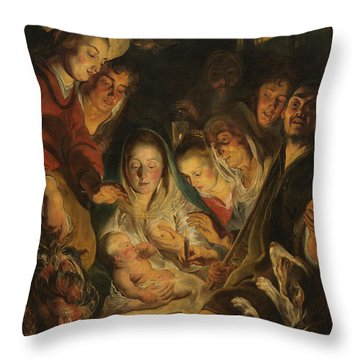 The Adoration Of The Shepherds Throw Pillow by Anonymous