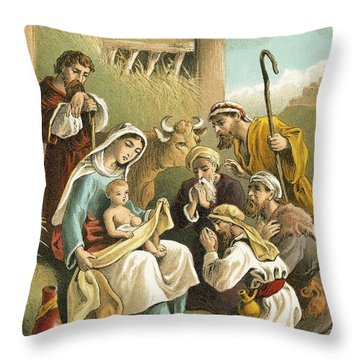 The Adoration Of The Shepherds Throw Pillow by English School