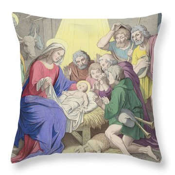 The Adoration Of The Shepherds Throw Pillow by German School