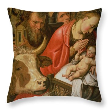 The Adoration Of The Shepherds Throw Pillow by Pieter Aertsen