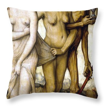 The Ages Of Man And Death Throw Pillow by Hans Baldung