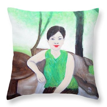 Throw Pillow featuring the painting The Air Around Is Transparent by Min Zou