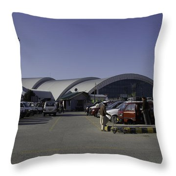 The Airport In Srinagar The Capital Of Jammu And Kashmir Throw Pillow by Ashish Agarwal