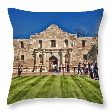 The Alamo Paintography Throw Pillow