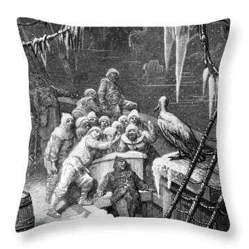 The Albatross Being Fed By The Sailors On The The Ship Marooned In The Frozen Seas Of Antartica Throw Pillow by Gustave Dore