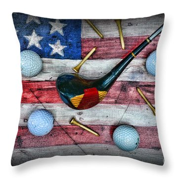The All American Golfer Throw Pillow by Paul Ward