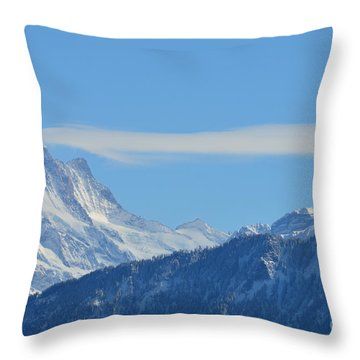 The Alps In Azure Throw Pillow by Felicia Tica