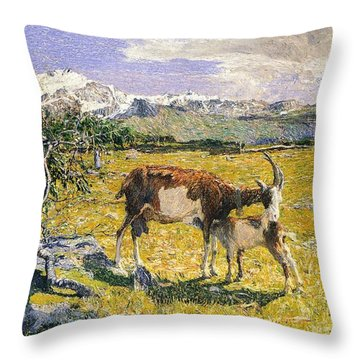 The Alps In May Throw Pillow by Giovanni Segantini