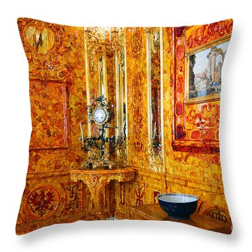 The Amber Room At Catherine Palace Throw Pillow
