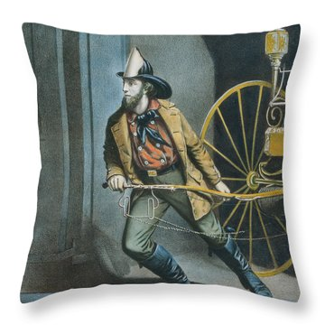The American Fireman Always Ready Throw Pillow