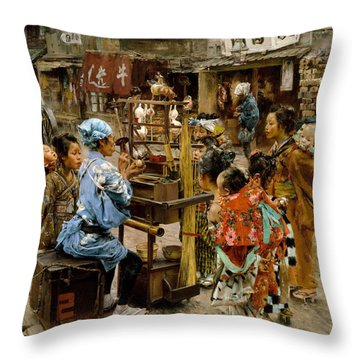 Throw Pillow featuring the painting The Ameya by Robert Frederick Blum