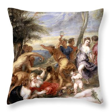 The Andrians A Free Copy After Titian Throw Pillow by Peter Paul Rubens