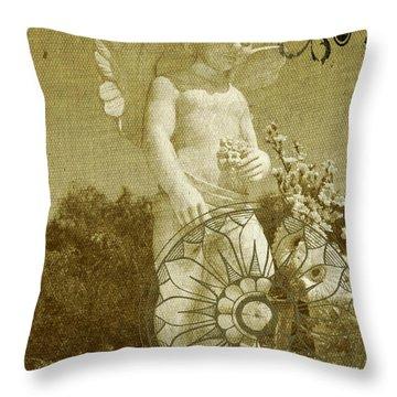 Throw Pillow featuring the digital art The Angel - Art Nouveau by Absinthe Art By Michelle LeAnn Scott