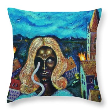 The Angel Of Death Has Snake Eyes Throw Pillow by Ion vincent DAnu