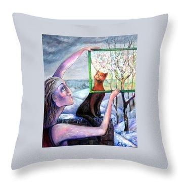 The Angel Of February Throw Pillow by Elisheva Nesis