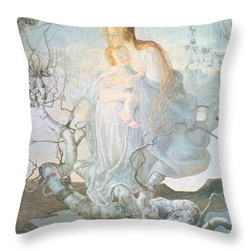 The Angel Of Life Throw Pillow by Giovanni Segantini