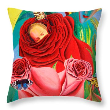 The Angel Of Roses Throw Pillow