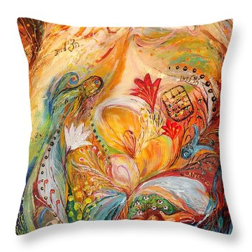 The Angels On Wedding Triptych - Left Side Throw Pillow by Elena Kotliarker