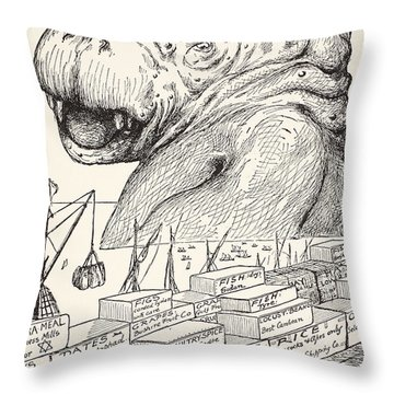 The Animal That Came Out Of The Sea And Ate Up All The Food That Suleiman-bin-daoud Had Made Ready F Throw Pillow by Joseph Rudyard Kipling