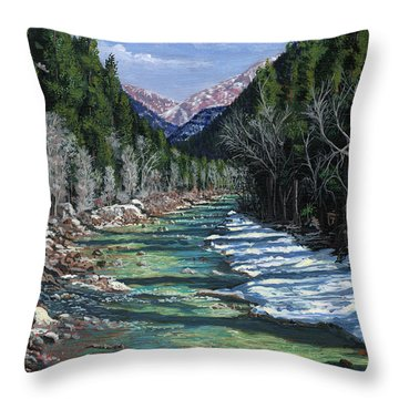 The Animas At Cascade Throw Pillow