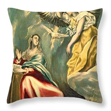 The Annunciation, C.1595-1600 Oil On Canvas Throw Pillow