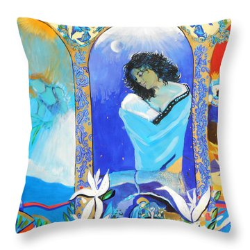 The Annunciation Throw Pillow by Lucia Hoogervorst
