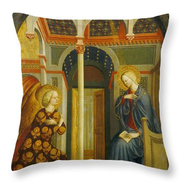 The Annunciation Throw Pillow by Tommaso Masolino da Panicale