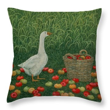 The Apple Basket Throw Pillow by Ditz