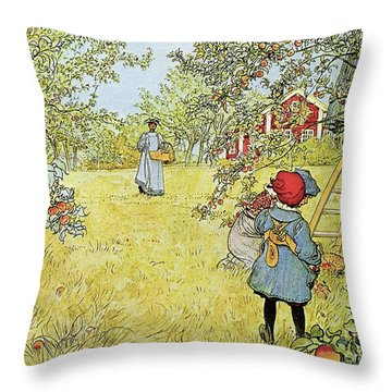 The Apple Harvest Throw Pillow by Carl Larsson